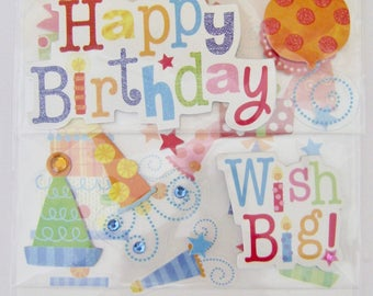 "Soft Spoken -""Happy Birthday"" Dimensional Sticker/Embellishment Pack"