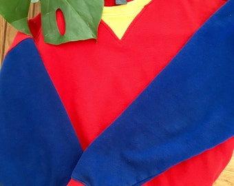 Vtg 1980's Baseball Sleeve Crewneck | Multicolour Pullover | Red Yellow Blue | Active wear | Women size Small or Medium