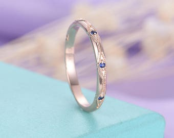 Vintage wedding band Sapphire wedding band Rose gold Women Unique Antique Art deco Bridal Jewelry Stacking Matching Anniversary gift for her