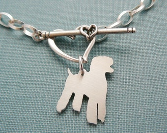 Standard Poodle Dog Chain Bracelet, Sterling Silver Personalize Pendant, Breed Silhouette Charm, Rescue Shelter, Mothers Day Gift