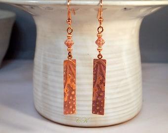 Hand Embossed Copper Earrings Dusty Rose Embossed Earrings Hand Patina Copper Earrings Dangle Pierced or Clip-on Earrings Steampunk Earrings