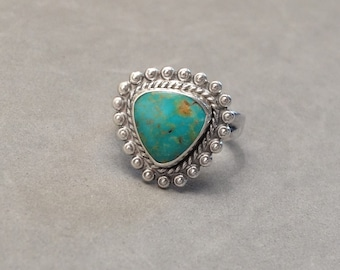 Vintage Sterling Silver Turquoise Ting Native American Bell Trading Post Navajo Indian Jewelry Size 6.25 Unisex Mens Mans Ladies