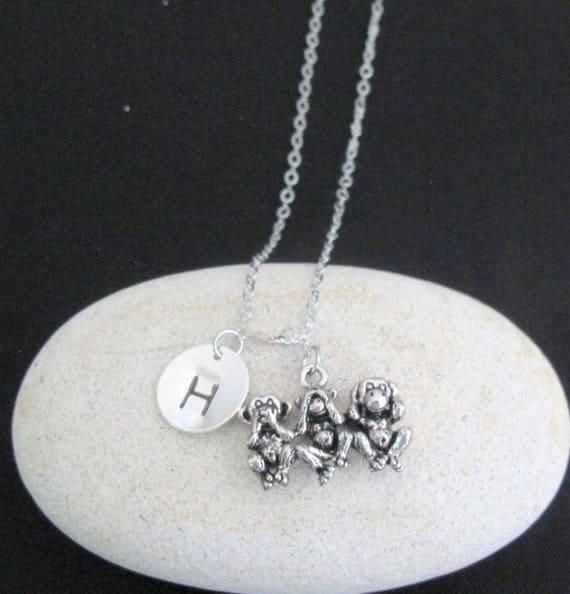 Three Wise Monkey Pendant Charm Necklace,See no evil,Hear no evil,Speak no evil,Mizaru Kikazaru Iwazaru Peaceful Jewelry,Free Shipping USA