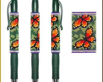 Monarch Summer Pilot G2 Pen Cover Pattern by Kristy Zgoda