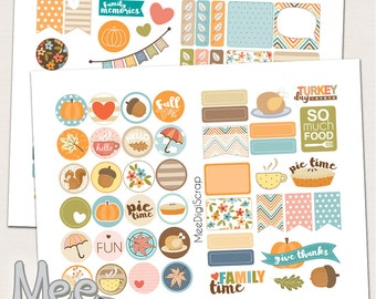 Decorative Thanksgiving stickers,planner printable,fall sticker kit,planner stickers,diary stickers,1 in circle stickers,personal size