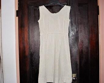 Vintage 50s White Cotton Stripe Jumper Dress S Seersucker Handmade