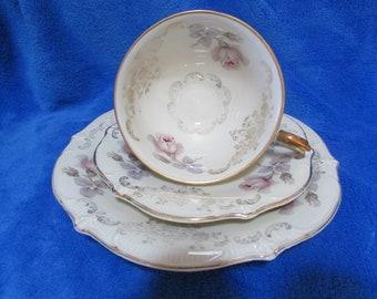 Schumann Bavaria Vintage Collector Porcelain gold plated Rose design teacup, saucer and cake plate set