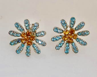 Vintage 18K White Gold Floral Earrings With Sky Blue Topaz and Yellow Citrine