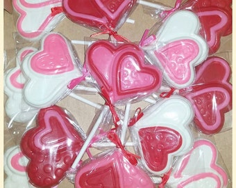 Heart, Valentine's Chocolate Lollipops - set of 12