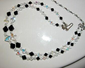SALE Crystal Choker Austrian Crystal Necklace Madmen Era Aurora Borealis w Black Crystals Double Strand Bead Choker Necklace