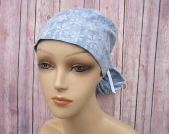 Surgical Scrub Caps - Ponytail Scrub Hat - Scrub Caps - Snowflake - Christmas Scrub Hat