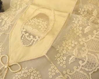 Ecru silk table runner high-end wonderful lace table overlay luxury dinning table decoration victorian furniture home gift wedding decor