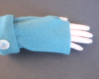 Fingerless Gloves Teal Blue Green Merino Wool Womens One Size Fits Most