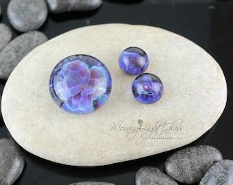 Purple Passion Set - Lampwork Glass Cabochon - 17mm - Jewelry Making Supply