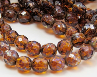 Czech 8mm Amber Beads Gray Picasso Round Czech Glass Translucent Faceted Fire Polished Caramel Brown 30 Beads PFP 8mm003