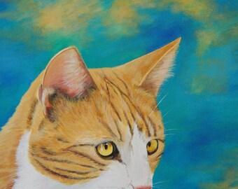 Orange and  White Cat Print