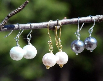 Set of 8 Drop Glass Pearl Earrings for Bridesmaids Matron of Honor and Wedding Party Bridal Jewelry