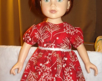 Modest holiday dress in red with white and black holly print for 18 inch Dolls - ag112