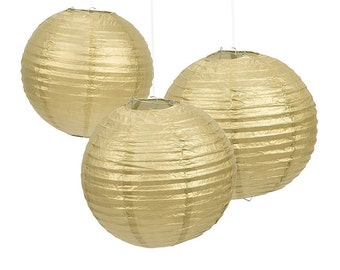 Pack of 6 Gold Paper Lantern Lamp shade Wedding Birthday Christmas Party Hanging Decoration