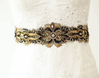 Black and Gold Wedding Sash, Gold wedding belt, Black bridal dress belt and and sashes  - Style R112