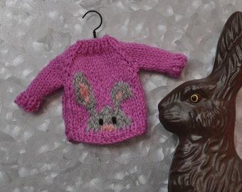 Peeking Bunny Hand-Knit Sweater Ornament