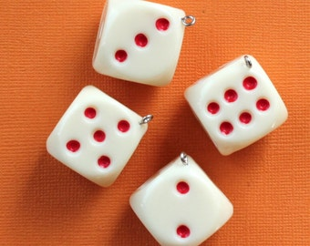 SALE 2 Large Dice Charms 3D Resin Top Quality Vibrant Red and White - K248
