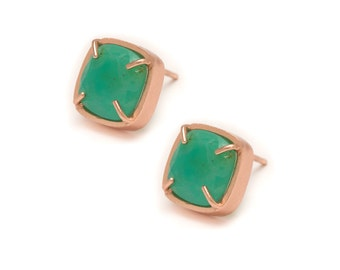 Chrysoprase Stud Earrings - Gold Gemstone Stud Earrings - Chrysoprase in Yellow Gold - 18k Rose Gold Vermeil - Studs