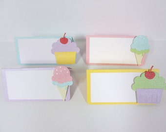 Pastel Ice Cream and Cupcakes Food Tents Buffet Labels / Place Cards Set of 6 Birthday Party Shower Sweet Treats Shop