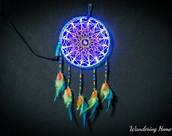 LED Sacred Geometry  Dreamcatcher,Sacred geometry,Nightlight,Neon,Florescent,Tetrahedron,Lights,Wall Hanging,Gift,String art,String art