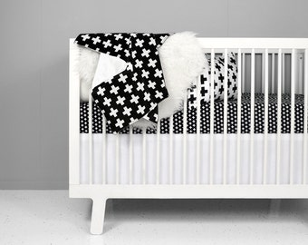 Modern Crib Bedding Set - Black + White Swiss Cross | black and white baby bedding | modern baby bedding | fitted crib sheet | crib bedding