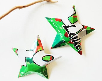 Diy pattern how to make a can star pdf aluminum can stars four loco energy and alcohol decorative aluminum stars upcycled aluminum recycled can ornaments green red white solutioingenieria Choice Image