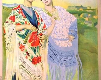 Vintage Madrid Spain Tourism Poster A3 Print