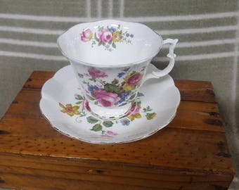 Vintage Royal Albert Rose/Floral Bouquet Cup and Saucer