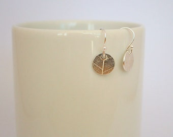 Fine Silver Leaf Pattern Circle Drop Earrings Eco silver, recycled silver, gift for her, bridesmaid gift,Valentine's Day gift