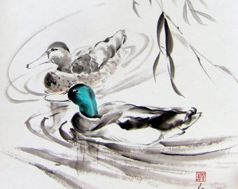 Sumi-e Black and White Hand made Japanese Ink Painting Zen art Minimalist painting Japanese art Asian art Couple of  Ducks under Willow