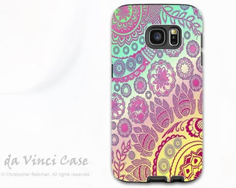Pastel Paisley Case for Samsung Galaxy S7 EDGE - Premium Dual Layer Galaxy S 7 EDGE Case with Floral Art - Cotton Candy Mehndi