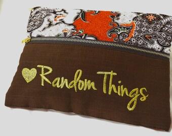 Pouch, travel pouch, cosmetics purse, batik pouch, embroidered pouch