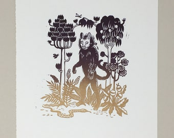 Brave Face - Original handmade Linocut Linoprint, featuring handcarved illustration of monkey wearing a mask in a jungle setting