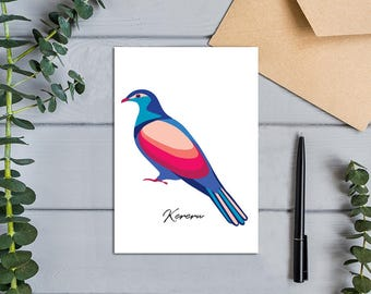 Native Birds of Aotearoa, New Zealand Wood Pigeon (Kereru) Modern, Colourful Design Greeting Card