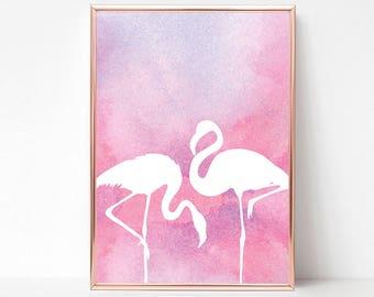 Printable Flamingo Decor Art, Pink Flamingo Print Art, Flamingo Party Decor, Tropical Bird Decor, Flamingo Wall Print, Flamingo Wall Art