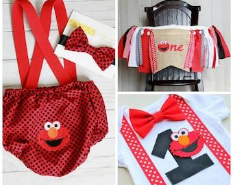 3 Piece Party Set! Elmo Bodysuit, Elmo Highchair Banner and Elmo Cake Smash