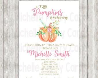 50%Off Pumpkin Baby Shower Invitation, Pumpkin Girl Invite, Baby Girl, Party Girl, Pumpkin Party, Little Pumpkin, Shower Pumpkins, Baby, Pin