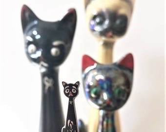 Vintage Pin Club - Elongated Neck Black Cat Enamel Pin Badge