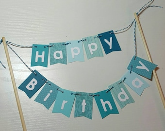 Cake Bunting, Teal, Aqua, Happy Birthday, Cake Topper, Paper banner