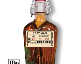 Liquor Flask for Groomsmen - Wedding Flasks - Groomsmen and Best Man Gifts - 500 ML - Whiskey Bottle with Custom Labels