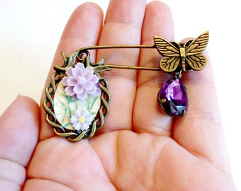 shawl pin butterfly brooch, chiyogami paper jewellery, amethyst purple, bouquet pin