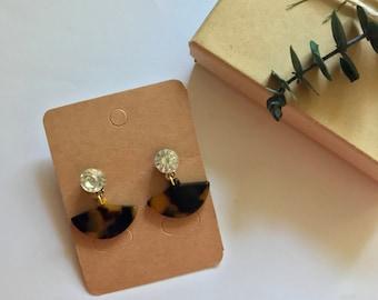 Tortoise Shell Crystal Brass Gold Stud Fan Triangle Drop Dangle Earrings