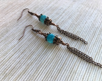 Antique Copper and Blue Agate Earrings