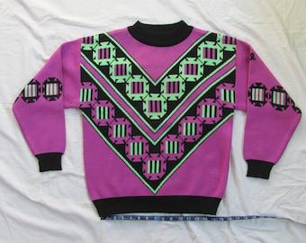 Vintage 80s or 90s Demetre Wool Blend Ski Sweater Womens Large 70/30% Acrylic/Wool Blend Neon Green and Purple Southwest Navajo Print