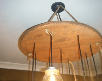 Rustic circular mason jar chandelier with Rope